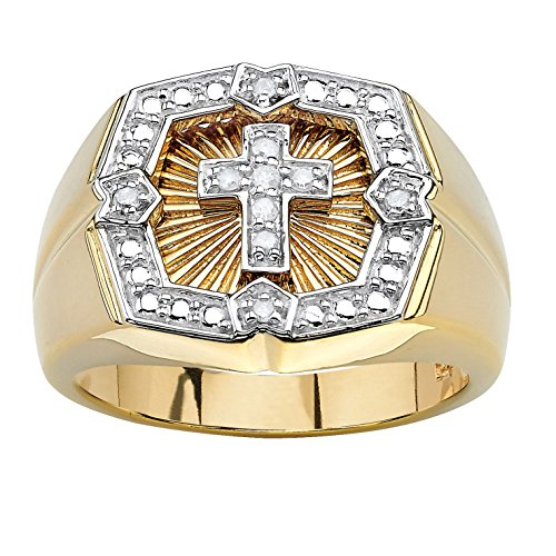 - Men's Round White Diamond 18k Gold over .925 Silver Cross Ring (.10 cttw, HI Color, I3 Clarity)