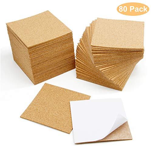Blisstime 80 Pcs SelfAdhesive Cork Sheets 4quotx 4quot for DIY Coasters Square Cork Coasters Cork Tiles Cork Mats Mini Wall Cork Tiles with Strong Self Adhesive Backing