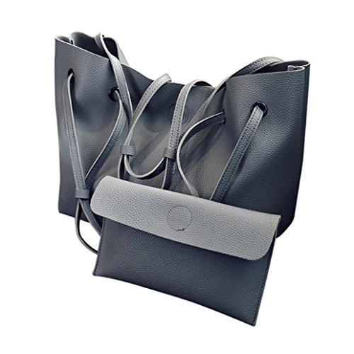 ESAILQ sac Litchi Dark main gris Mode à embrayage à 2PCS cuir sac en bandoulière en Femmes Motif U0rUZqn