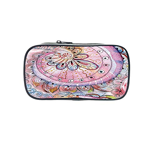 - Polychromatic OptionalPen Bag,Earth,Two Cute Kids Hugging Happy Planet Earth Bird and Hearts Embracing in Cartoon Style Decorative,Multicolor,for Kids,Diversified Design.8.7