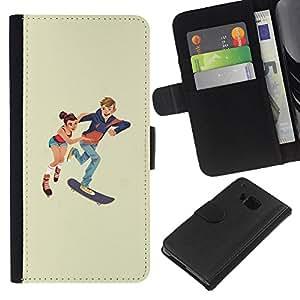KLONGSHOP // Tirón de la caja Cartera de cuero con ranuras para tarjetas - Patinaje niños - HTC One M9 //