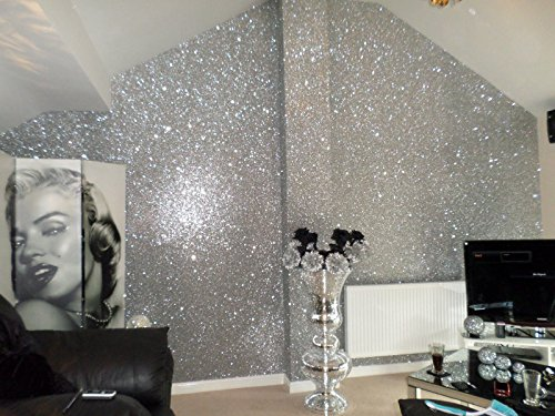 27in by 197in Silver Chunky Glitter Wallpaper , 3D Sparkly Glitter Fabric Wall Paper ,Bling Wallcovering (Silver) (Wallpaper Glitter For Wall)