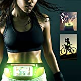LED Running Belt, Slim Adjustable Runner Race Belt Waterproof Fitness Workout Belt Sport Waist Pack Pouch Exercise Waist Bag for Men and Women for iPhone 8/7/6s plus/Galaxy S8 + up to 5.5''