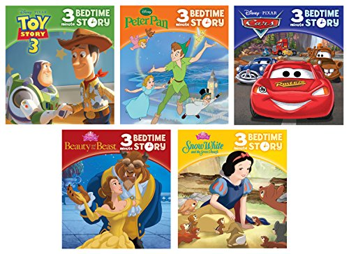 (Disney Toy Story, Cars, Disney Princess and more! - 3-Minute Bedtime Stories 5-book Set - PI Kids)