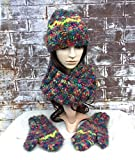 Wool HAT SCARF GLOVE Set, Hat Scarf Combo, Gift Sets for Women, HAND KNIT HAND MADE Mittens Hats Scarves Cowl, Gift Sets