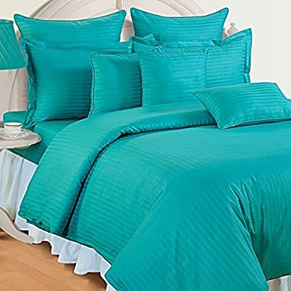 Reliable 300 TC Plain Stripe King Size Elastic Fitted Cotton Bedsheets, Turquoise