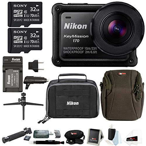 Nikon KeyMission 170 w/Nikon Accessory Pack & 64GB SD Card Bundle
