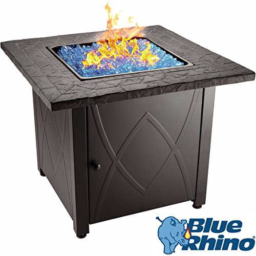 Blue Rhino Outdoor Propane Gas Fire Pit Blue Fireglass