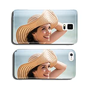Portrait of a beautiful girl with a big hat at the beach cell phone cover case Samsung S5