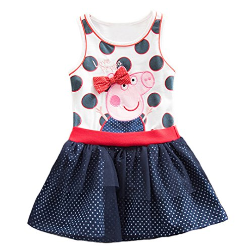 - Peppa Dress Tutu Birthday Dress Vestido Peppa Pig Girls Party Dress (6/7ys) Blue