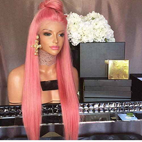 DLME Glueless Pink Lace Front Wig With Baby Hair Heat Resistant Wig 180% Density 26Inch Long Synthetic Wigs For Black Women