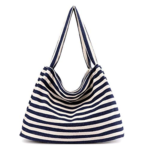 Fanspack Women's Canvas Hobo Handbags Stripe Pattern Top Handle Hobo Bags Casual Single Shoulder Bag