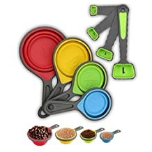 Portable Collapsible Silicone Measuring Cups & Spoons,ADSALOOK 8 Piece Folding Silicone Measuring Tool Set with Engraved Metric/US Markings for Liquid & Dry Measuring