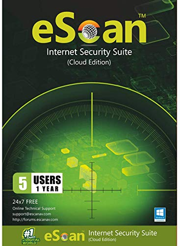 eScan Internet Security Suite with Cloud Security Includes Antivirus pro unlimited complete protection | 5 Devices 1…