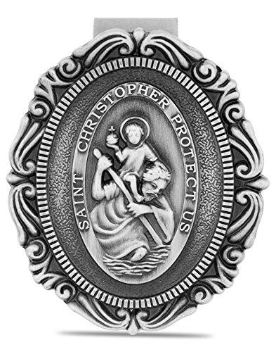 - Catholic Visor Clip for Protection While Driving (Filigree Saint Christopher)