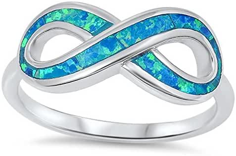 Infinity Blue Simulated Opal Fashion Ring New .925 Sterling Silver Band Sizes 4-10