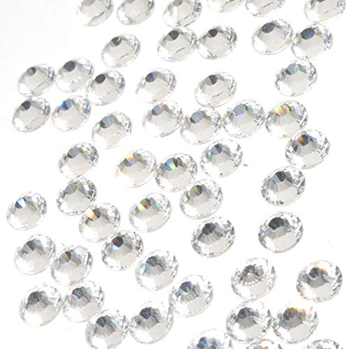 Queenme 288pcs SS30 Nail Rhinestones 6mm Flatback Crystals for Nail Art Crafts Clear Round Glass Gems Stones Beads for Nail Decorations Eye Makeup Clothes Shoes Vases (SS30, Clear)