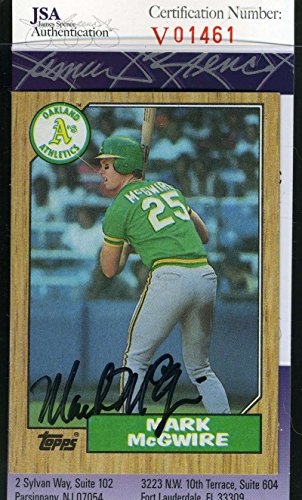 Sports Mark Mcgwire Hand Signed (MARK MCGWIRE 1987 TOPPS Vintage Rookie JSA Cert Autograph Authentic Hand Signed)
