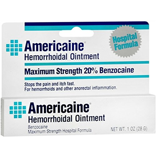 - Americaine Hemorrhoidal Ointment Maximum Strength 20% Benzocaine 1 oz ( Pack of 2)