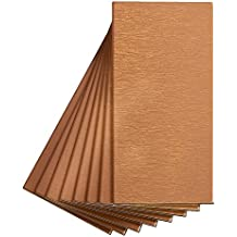 Aspect Peel and Stick Backsplash 3in x 6in Brushed Copper Short Grain Metal Tile for Kitchen and Bathrooms (8-pack)