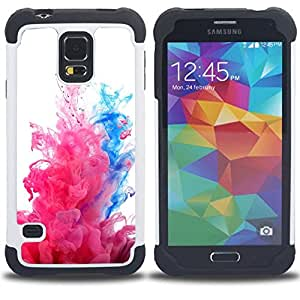 """SAMSUNG Galaxy S5 V / i9600 / SM-G900 - 3 en 1 impreso colorido de Altas Prestaciones PC Funda chaqueta Negro cubierta gel silicona suave (Fluido Agua Dinámica Rosa Blanco"""")"""