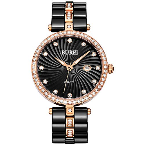 BUREI Women's Elegant Analog Quartz Wrist Watches Diamond Bezel with Ceramic Bracelet (Black- Rose Gold) from BUREI
