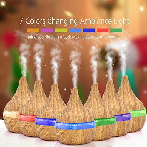 Essential Oil Diffuser,100ml Aroma Essential Oil Cool Mist Humidifier with Adjustable Mist Mode,Waterless Auto Shut-Off and 7 Color LED Lights Changing for Home Office Baby (Yellow)