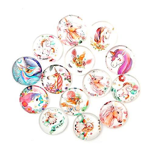 (12 Pcs Gems Fridge Magnet Paste, Beautiful Glass Creative Pushpins for Whiteboard Office Calendar Decorating, Perfect Decorative Magnet Sets for Home, Office Decorations (Unicorn))