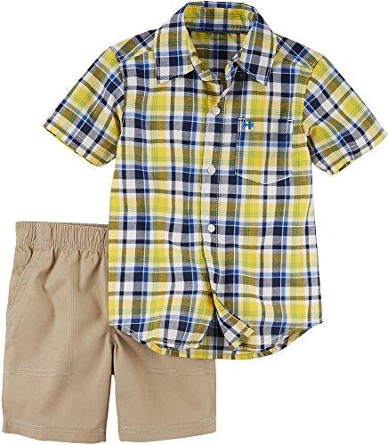 Carter's Baby Boys' Short Sleeve Button Front Top and Khaki Shorts Set 18 Months (Carters Boys Khaki)