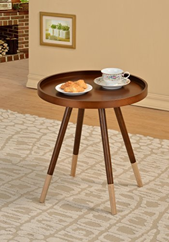 Walnut Finish Round Bentwood Chair Side End Table (Round Walnut Table)