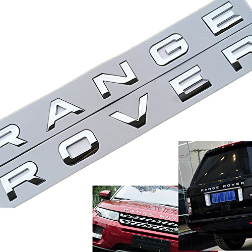 1Set 3D Head Cover Hood Front Letters Emblem Sports Line Badge Letter Emblem for Range Rover Land Rover car Stickers Decal Logo(Bright Silver)