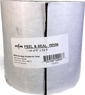 MFM BP Peel U0026 Seal Self  Stick Roll Roofing, White, 6u0026quot; X