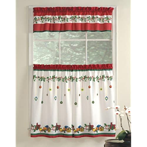 lorraine home fashions gift box tier and valance set 36 inch multicolored - Christmas Kitchen Curtains