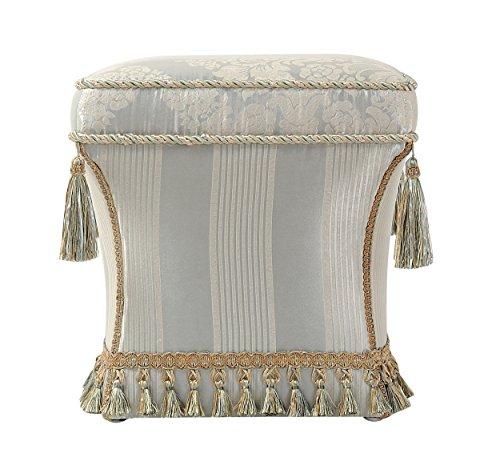 (Jennifer Taylor Home Savannah Collection Mid Century Modern Living Room Square Pedestal Fringe and Trim Tassel Ottoman,)