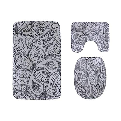 Rug Paisley Butterfly (Rh Studio Bathroom Mats Sets 3 Pieces Black and White Butterfly Paisley Toilet Rugs Set Non-Slip Durable Polyester Bath Rug Contour Mat Lid Cover Rug)