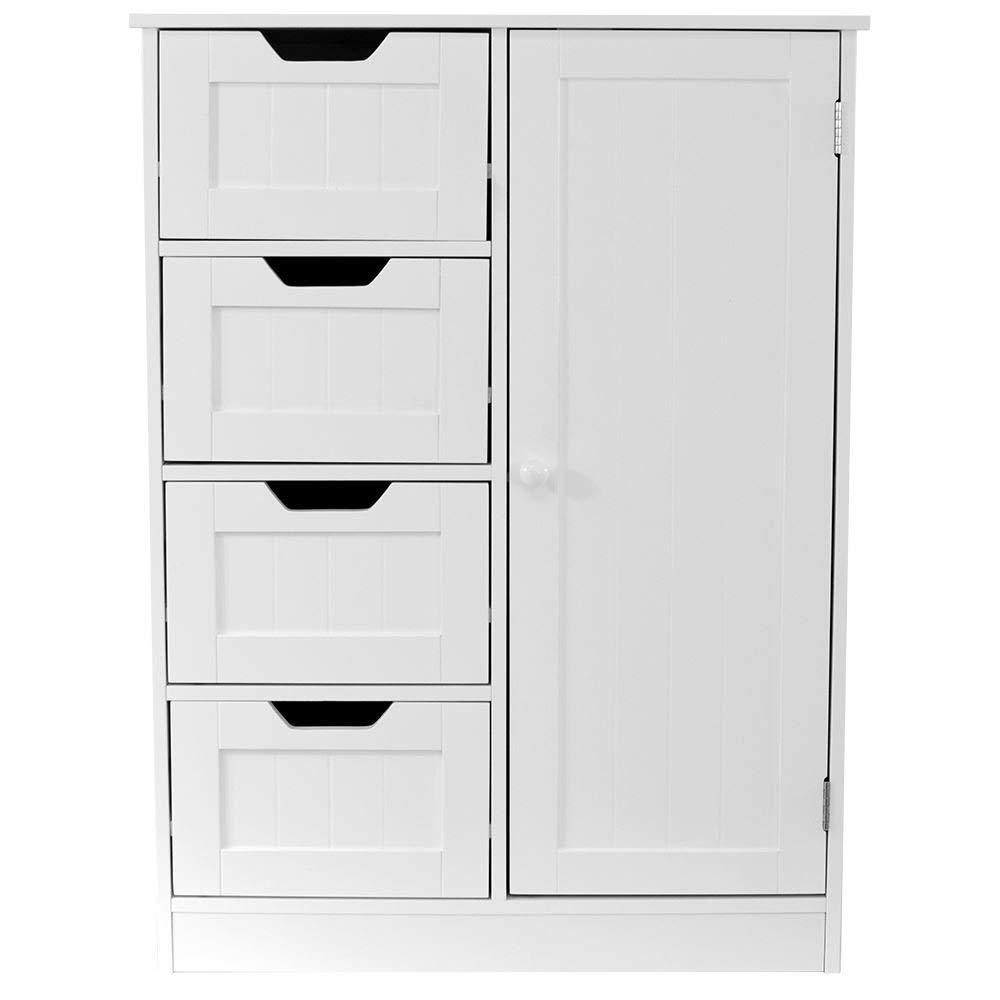 Fineway® Floor Standing Bathroom Furniture Cupboard 4 Drawer 1 Door Cabinet Unit