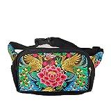 Female embroidery Waist Packs three bags zipper purse bag purse purse (red)
