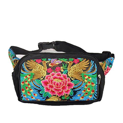 Female embroidery Waist Packs three bags zipper purse bag purse purse (red) by c1lint778563