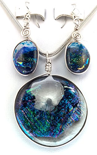 (Purple Blue Green Dichroic Glass Pendant with16 Inch Silver Plated Snake Chain Necklace and Earrings)