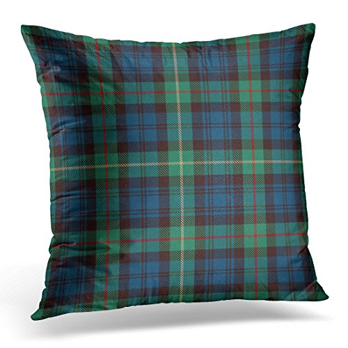 Golee Throw Pillow Cover Celtic Tartan Blue Black Green Red and Gold Plaid Flannel Patterns Trendy Tiles for Scottish Abstract Decorative Pillow Case Home Decor Square 20x20 Inches Pillowcase