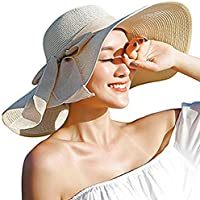 e8a3c144 DRESHOW Womens Big Bowknot Straw Hat Floppy Foldable Roll up Beach Cap Sun  Hat UPF 50