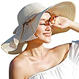 Womens Big Bowknot Straw Hat Floppy Foldable Roll up Beach Cap Sun Hat UPF 50+ (Beige/Normal Edge)