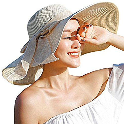 DRESHOW Womens Big Bowknot Straw Hat Floppy Foldable Roll up Beach Cap Sun Hat UPF 50+ Off-White (Hat Sizes Womens)