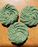 Handmade dish scrubbies, dish scrubber, crocheted dishcloths, dish scrub pads, round dish cloth, pot scrubbies, cotton scubbies set of 3