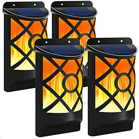 Solar Flame Light 4 PCs Solar Flame Lights Set Upgraded Waterproof Landscape Garden Pathway Light with Dancing Flickering Flames Auto On Off Dusk to Dawn Outdoor Fence Lights for Yard Decoration