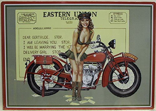 TELEGRAPH Metal Sign vintage style war pinup girl with Harley Eastern Union telegram service military