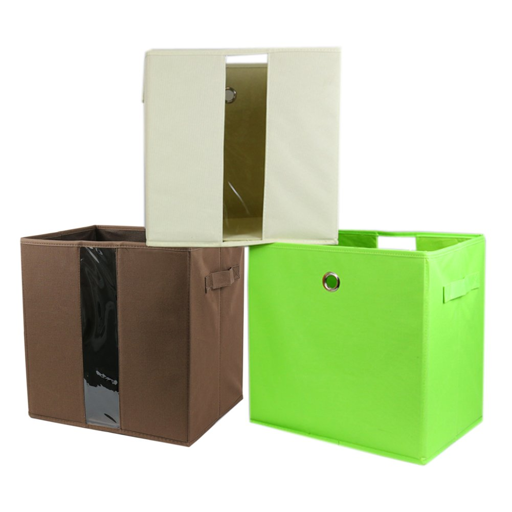 Fabric Cube Storage Bins, Foldable (Set of 3 - Beige, Green, Brown) Premium Quality Canvas Fabric Collapsible Baskets, Closet Organizer Drawers, 12.75 x 10 x 13''