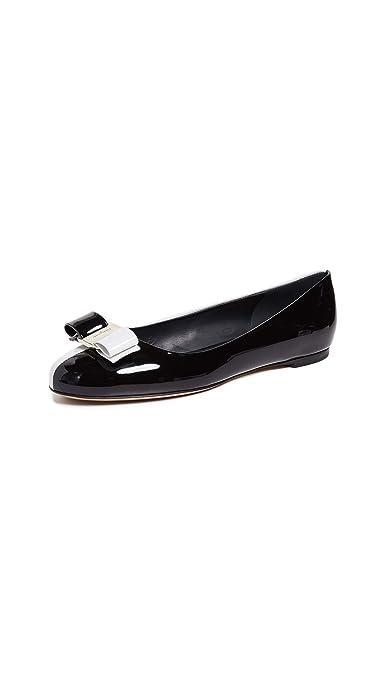 15cf92670 Salvatore Ferragamo Women's Varina 19 Flats, Nero, Black, White, 11 M US