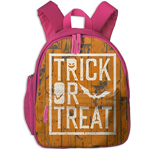 Happy Halloween Trick Or Treat Double Zipper Waterproof Children Schoolbag With Front Pockets For Youth Boys Girls ()