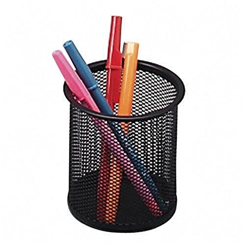 Premium Black Metal Mesh Cylinder - Can be Removed and Water Resistant Pen Holder to Organize All Pens, Rulers & Scissors On Your Desk (Black) (Table Set Walnut Game)
